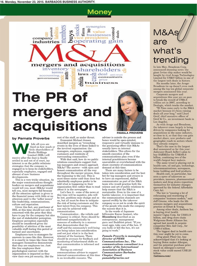 2015-11-23 Business Authority: The PR of mergers and acquisitions by Pamala Proverbs of PRMR Inc