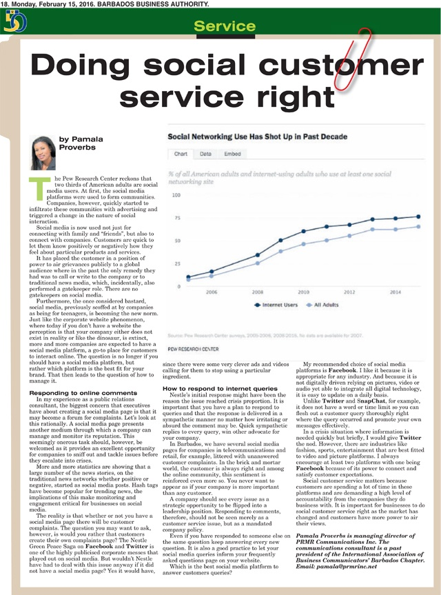 2016-02-15 Business Authority Doing social customer service right by Pamala Proverbs of PRMR Inc.