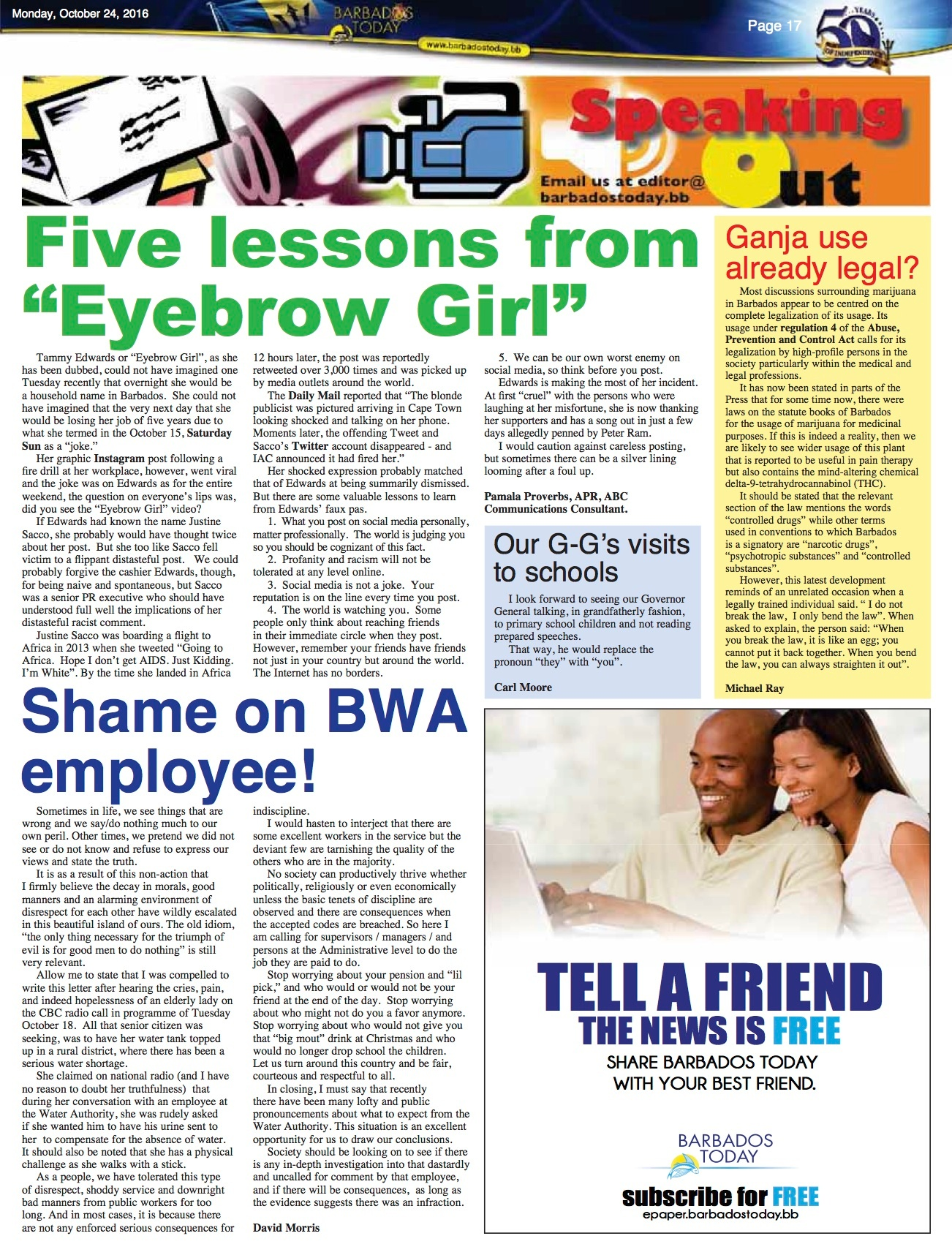 2016-10-24-Barbados Today-Five lessons from eyebrow girl.jpg