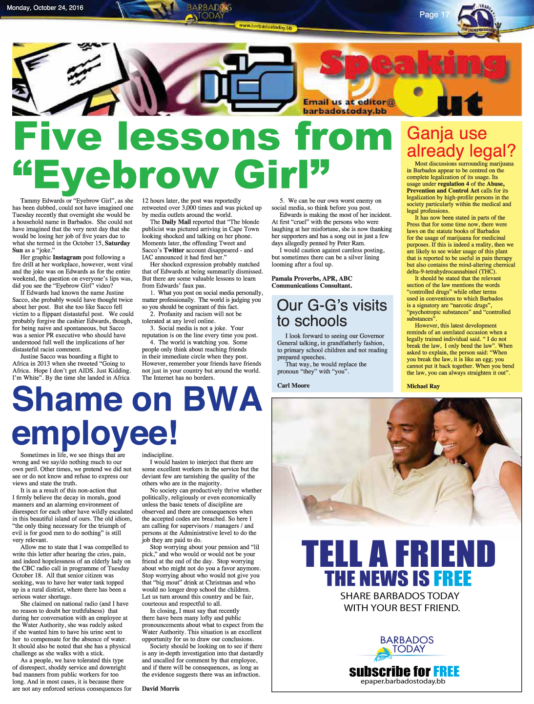 5 Lessons to learn from Barbados's eyebrow girl by Pamala Proverbs director of PRMR Inc.
