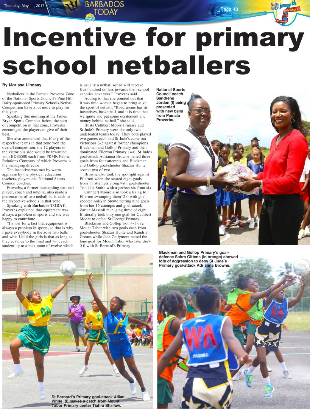Pamala Proverbs of PRMR Inc. donates netballs to Barbadian athletes