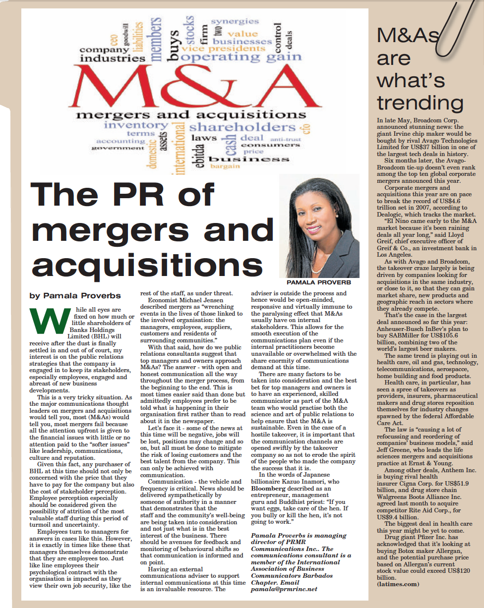 The PR of Mergers and Acquisitions in the Caribbean by Pamala Proverbs Director of PRMR Inc.