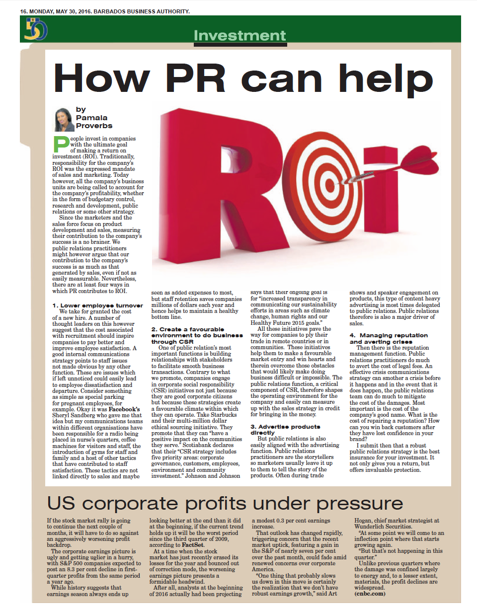 Public Relations Can help Barbados by Pamala Proverbs Director of  PRMR Inc.